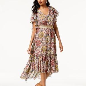 NWT! Taylor Printed Ruffled Midi Dress Pink Floral